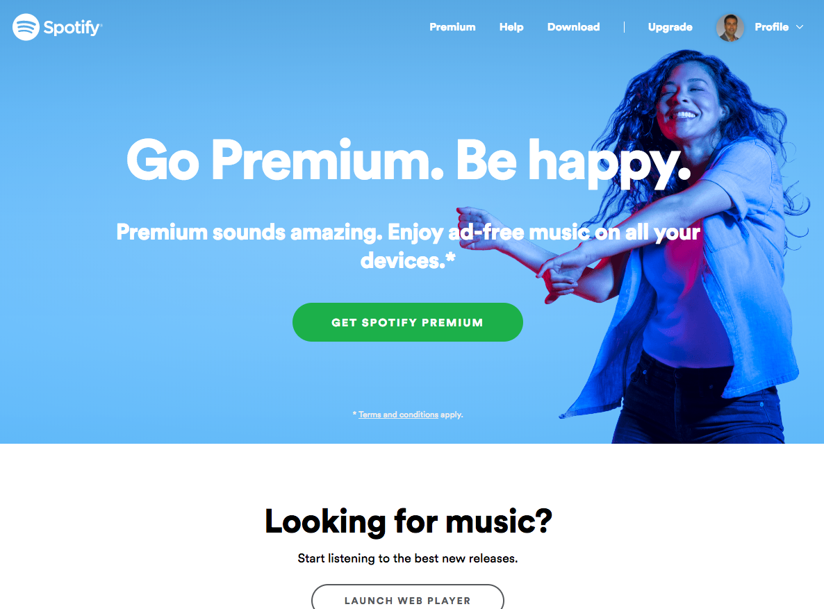 Spotify-logged-in-as-free-user