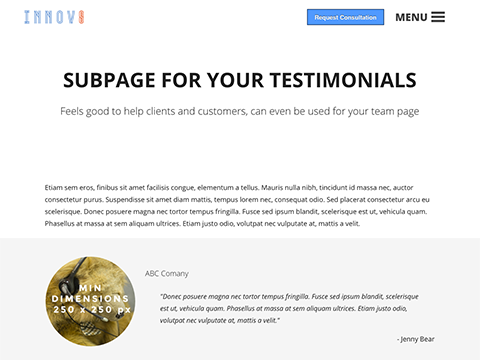 Innovate website template pack hubspot website page template innovate testimonials maxwellsz